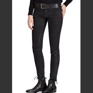 Ralph Lauren black Coated Tompkins Skinny Jeans 28